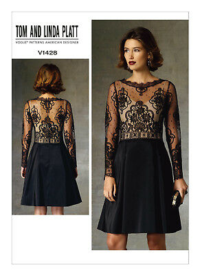 Vogue Sewing Pattern V1428 Misses Dress With Sheer Bodice 8 16 Or 16