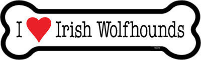 "I Heart (Love) Irish Wolfhounds Dog Bone Car Magnet 2"" x 7"" USA Made"