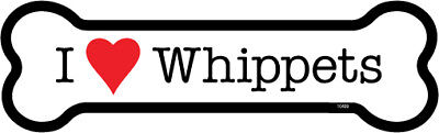 "I Heart (Love) Whippets Dog Bone Car Magnet 2"" x 7"" USA Made"