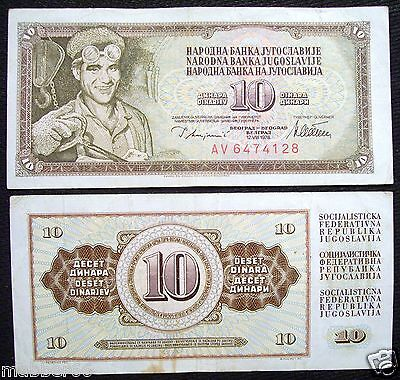 YUGOSLAVIA Steelworker 10 DINARA 1978 Cir. BANKNOTE Paper Money Foriegn Currency