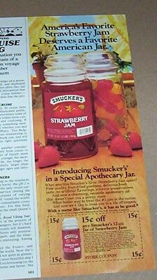 1983 print ad - Smucker's strawberry jam apothecary jar old coupon ADVERTISING