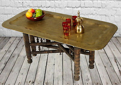 90 Ø orient Messing tablett Teetisch Tisch holzgestell teatable Afghanistan No32