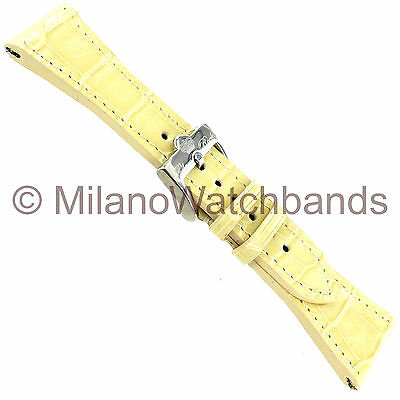 26mm Glam Rock High Quality Hand Made Off White Genuine Alligator Watch Band