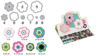 Sizzix Triplits Dies - Flower #2 - 9 Dies - Flowers, Mix and Match