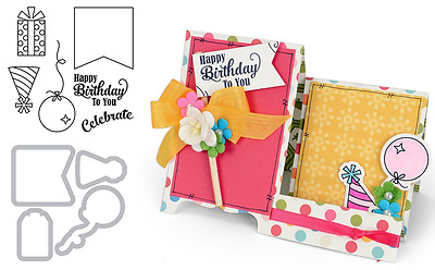 Sizzix Framelits Dies with Stamps - Happy Birthday to You, Celebrate, Present