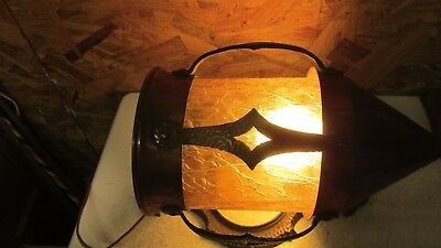 Antique Cast Brass & Copper Wall Light & Amber Glass Shade  No. 1