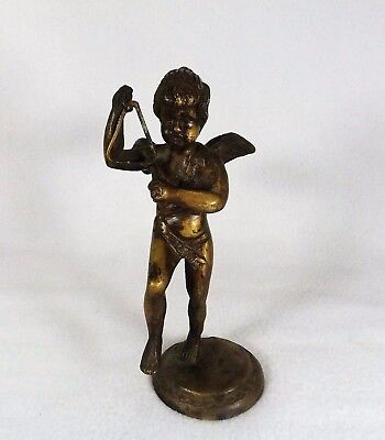 19th C. Victorian Solid Bronze / Brass Winged Cherub Playing Triangle Sculpture
