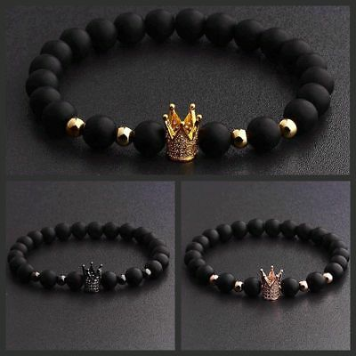 Gorgeous Crown Natural Stone Matte Black Charm Men's CZ Copper Bead Bracelet