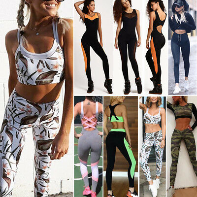 Yoga Set Lady Running Bra&Pants Gym Workout Fitness Clothes Tights Sportwear Lot