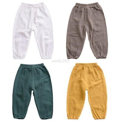 Kids Baby Boy Casual Loose Cotton Long Pants Elastic Waist Trousers Clothes 1-5T