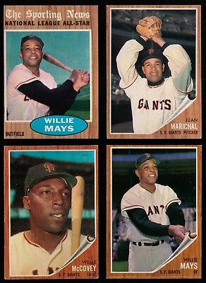 1962 Topps San Francisco Giants 17 DIFF Willie Mays Marichal McCovey Mays A.S.