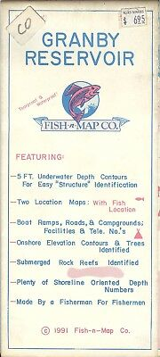 Fish-n-Map Co. GRANBY RESERVOIR Colorado c1991