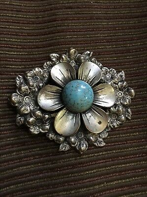 Vintage Dress/ Fur Clip Silver Color Pot Metal/ Faux Turquoise Large Works Well