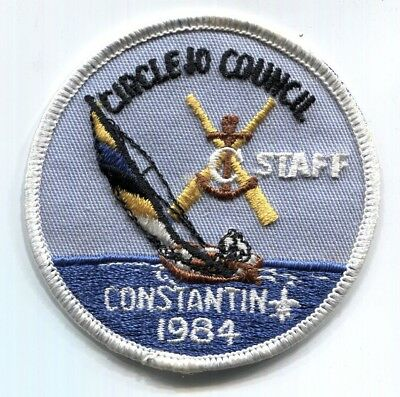 BSA Circle 10 Council Camp Constantin STAFF scout patch - white border - 1984