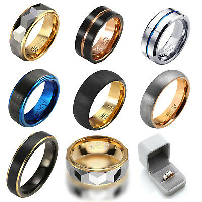 Mens Womens Couple Tungsten Carbide Gold Classic Band Rings Wedding Gift Jewelry