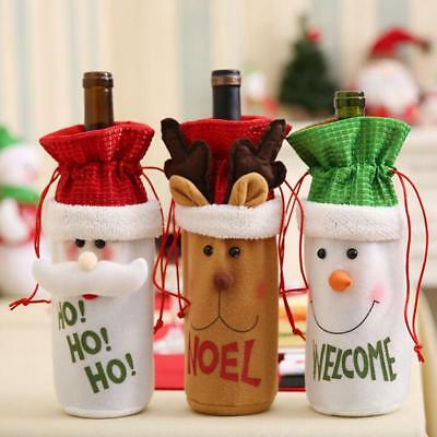 Christmas Wine Bottle Holder Gift Bags Xmas Table Home Décor Ornament