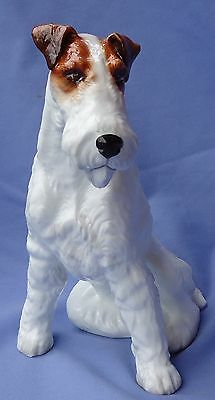 """Rare Le49/500 Wire Fox Terrier Jack Russell 9"""" Dog Staffordshire England"""