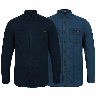 Mens Denim Shirts Tokyo Laundry Cotton Top Collared Long Sleeved Casual Designer