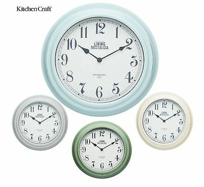 Kitchen Craft Living Nostalgia Wall Clock Clocks in Cream, Green, Blue or Grey
