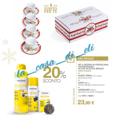 Stanhome: Degreaser Da 1000 Ml + Oven + Magic Spiral + N. 4 Tazzine Natale