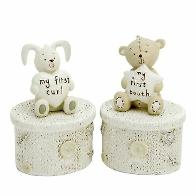 Button Corner My First Tooth & Curl Teddy Bear Rabbit Trinket Box