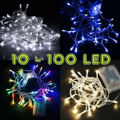 10-100 LED 1M-10M Battery Operated String Lights Fairy Wedding CA RR