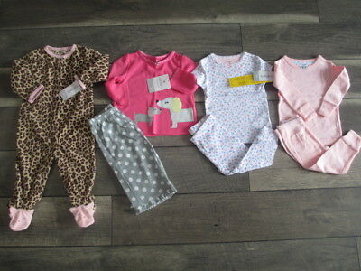 7 piece LOT of baby girl fall/winter pajamas size 9 months NWT
