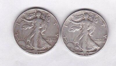 Usa 1941 & 1942 Silver Half Dollar Coins In Very Fine Condition