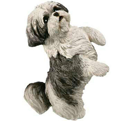 Shih Tzu Figurine Hand Painted Gray Puppy Cut - Sandicast