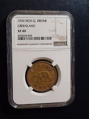 1926 Greenland HCN GJ Krone NGC XF40 1K Coin Auction Starts At 99 Cents!