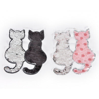 1 x cat reversible change color sequins sew on patches for clothes DIY patches D