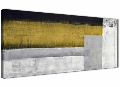 Mustard Yellow Grey Painting Living Room Canvas Wall Art - Abstract 1425 - 120cm