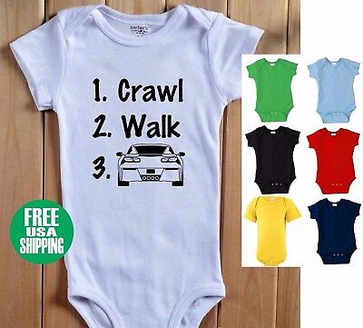 Crawl Walk CORVETTE Baby Bodysuit 1 Piece Shirt Infant Chevy Chevrolet Vette C7