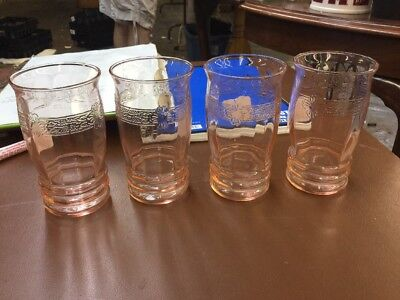 Depression Glass Pink Tumblers 4 With Pattern Flowers