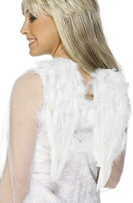 Ladies Older Girls White Feather Angel Wings Xmas Fancy Dress Costume Accessory