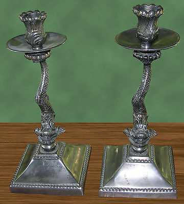 """Pair Vintage Antique 10-1/2"""" Chinese? Asian? Dragon Candlesticks Nickle Silver?"""