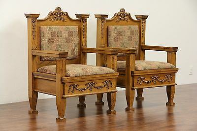 Pair of Oak 1900 Antique Throne or Hall Chairs, New Upholstery