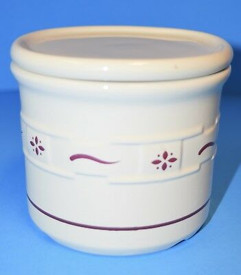 Longaberger Pottery Red Traditions Salt Candle Crock Pint w/ Coaster Lid!