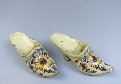Antique Rare Pair of Small Dutch Delft Shoes Floral & Flowers Circa 1750 Poly