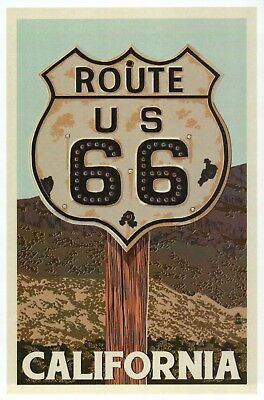 Route 66 The Mother Road Sign Highway Chicago to LA California - Modern Postcard