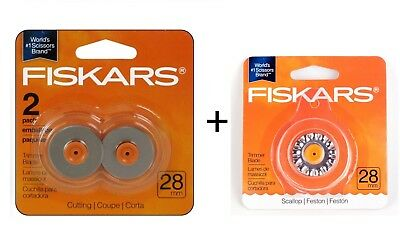 Fiskars 28mm Blades Style F for Rotary Paper Trimmers, Trimmer Replacement Blade