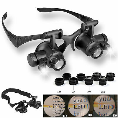 LED Magnifier Double Eye Loupe Glasses Jeweler Watch Repair 10X 15X 20X 25X Lens