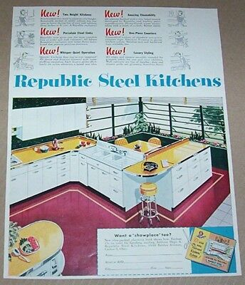 1953 vintage ad - Republic Steel kitchens Canton Ohio print Advertising Page
