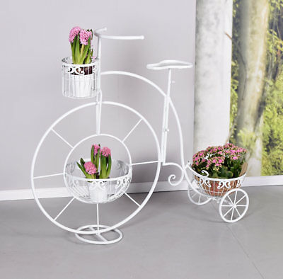 Garden Bicycle White Tricycle Flowers gartenrad Flower Pot Holder 110cm