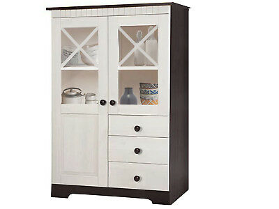 buffet schrank k chenschrank aus weichholz in wei im landhausstil 1207 eur. Black Bedroom Furniture Sets. Home Design Ideas