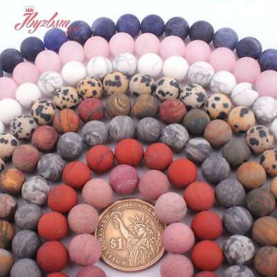 """10mm Round Frost Matte Jade Stone Spacer Loose Beads Strand 15"""" Muti-color Pink"""