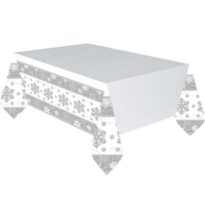 Christmas Silver Shimmering Snowflake Paper Tablecover Snowflake Party Tableware