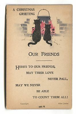 Black cats sitting by open fire - old artistic postcard by Allan Junior