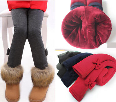 Winter Thermal Kids Girl Fleece Lined Thick Leggings Stretchy Warm Pants Trouser