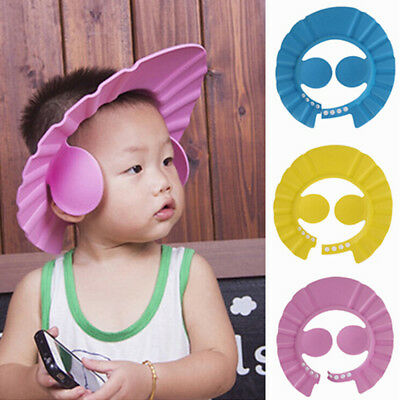 Soft Toddler Baby Bath Hat Shower Shampoo Visor Hats Wash Hair Ear Shield Cap